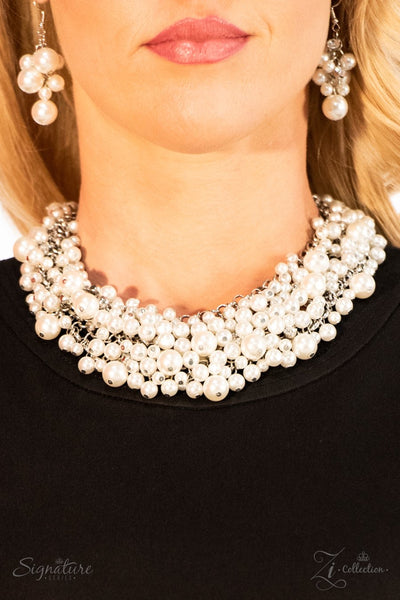 The Tracey - Pearl White Rhinestone Necklace - Paparazzi Accessories