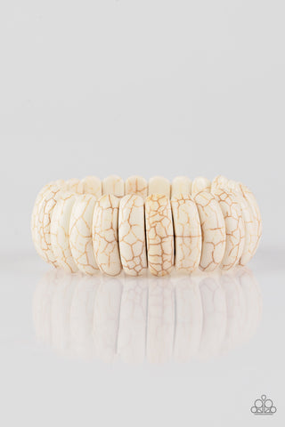 Peacefully Primal - White Stone Bracelet - Paparazzi Accessories