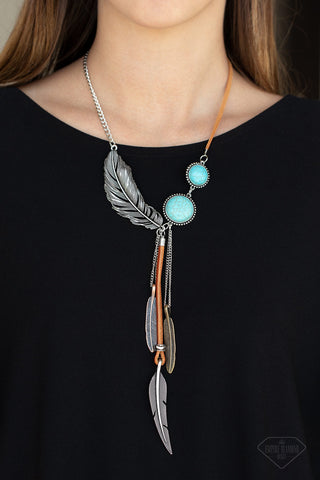 Stay Wild and Free - Blue Stone Feather Necklace - Paparazzi Accessories