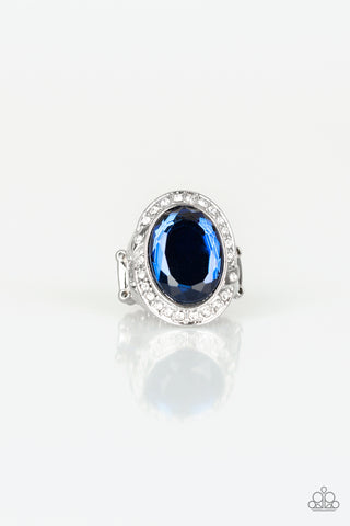 Queen Scene - Blue Rhinestone Ring - Paparazzi Accessories