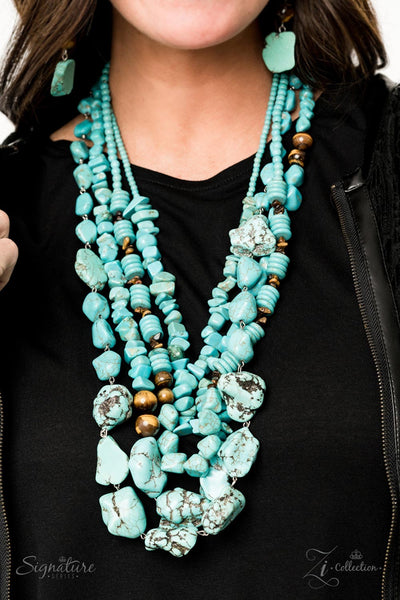 The Monica - Blue Stone Necklace - Paparazzi Accessories