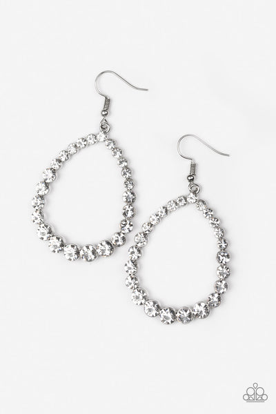 Rise and Sparkle - White Earrings - Paparazzi Accessories