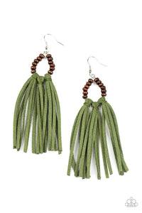 Easy To PerSUEDE - Green Wooden Tassel Earrings - Paparazzi Accessories
