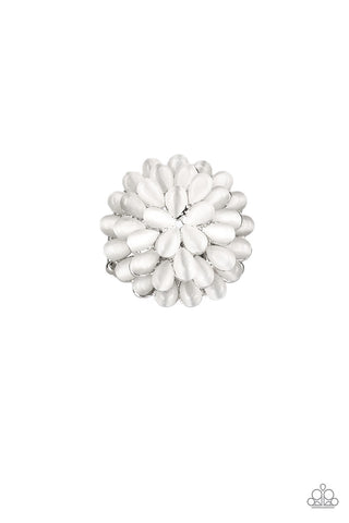Bloomin' Blommer - White Moonstone Ring - Paparazzi Accessories