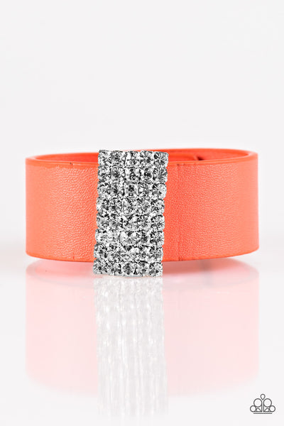 Walk The CATWALK - Orange Rhinestone Urban Bracelet - Paparazzi Accessorie