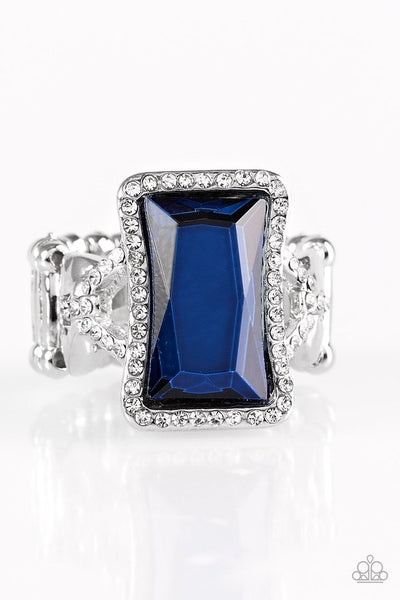 Glamour Icon - Blue Rhinestone Ring - Paparazzi Accessories