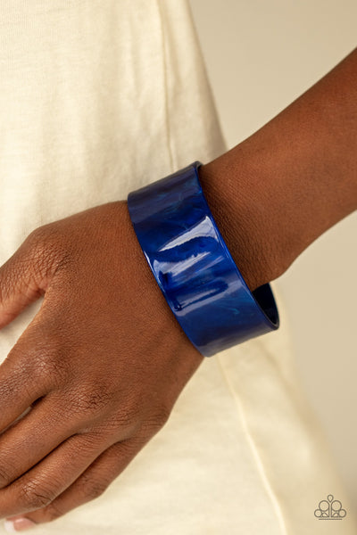 Glaze Over - Blue Acrylic Bracelet - Paparazzi Accessories