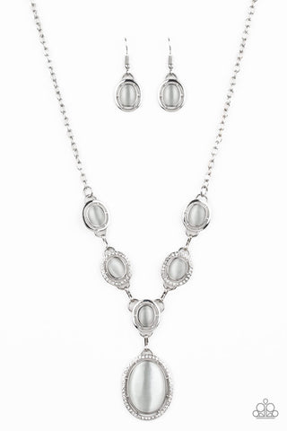 Paparazzi Metro Medallion Moonstone Necklace - White