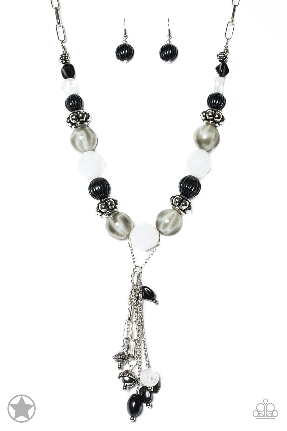 Break A Leg! - Black/White Necklace - Paparazzi Accessories