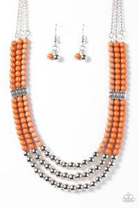 Just BEAD You - Orange Beaded Necklace - Paparazzi Accessories