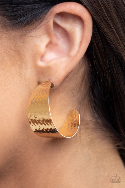 Flatten The Curve - Gold Hoop Earrings - Paparazzi Accessories