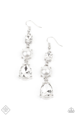 Unpredictable Shimmer - White Earrings - Paparazzi Accessories