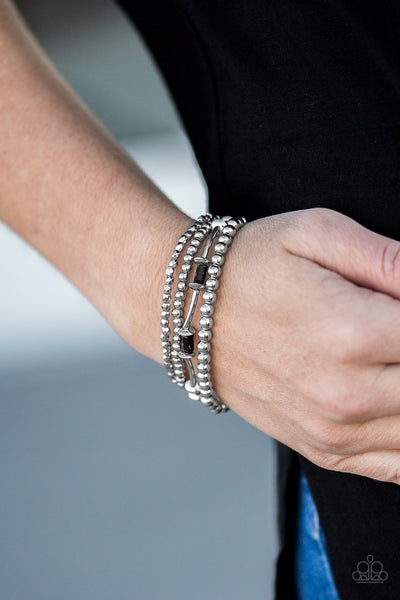 Upscale- Black and Silver Bracelets- Paparazzi Accessories