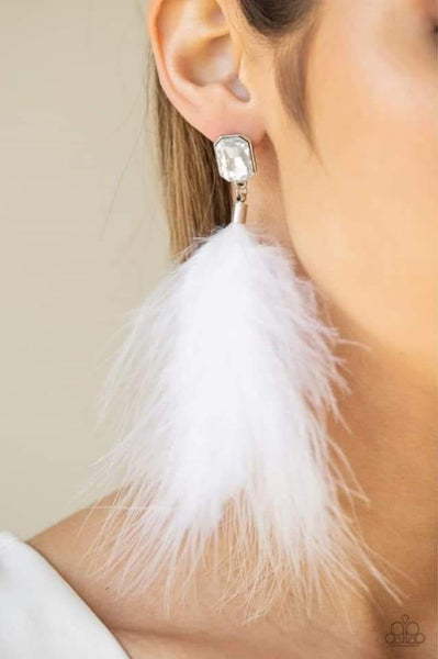 The SHOWGIRL Must Go On -White Feather Earrings - Paparazzi Accessories