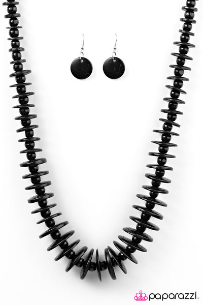 Maui Mai Tai - Black Wooden Necklace - Paparazzi Accessories