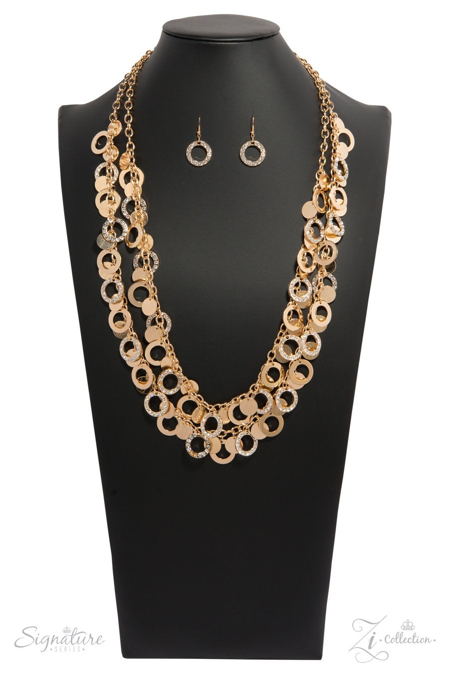 The Carolyn - Gold Rhinestone Hoop Necklace - Paparazzi Accessories