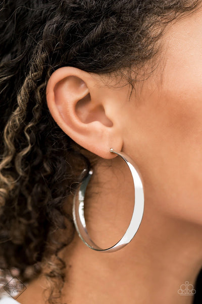 A Double Feature - Silver Hoop Earrings - Paparazzi Accessories