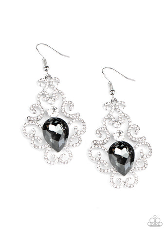 Happily Ever AFTERGLOW - Silver Rhinestone Earrings - Paparazzi Accessories
