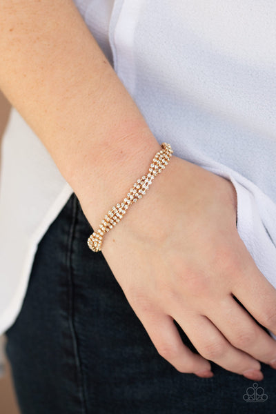 Braided Twilight - Gold White Rhinestone Braided Bracelet - Paparazzi Accessories