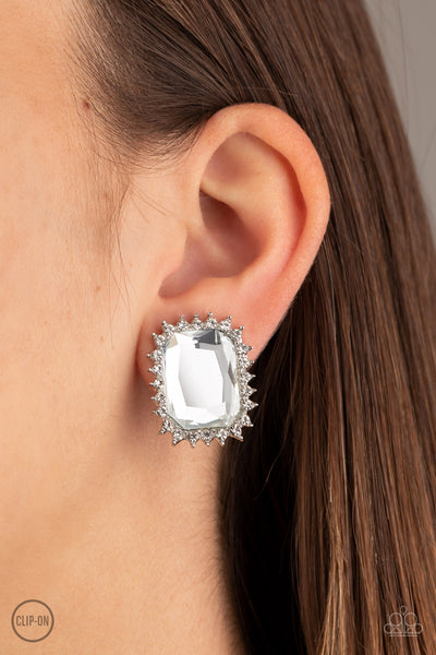 Insta Famous - White Clip-On Earrings - Paparazzi Accessories