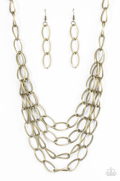 Paparazzi Chain Reaction Necklace-Brass
