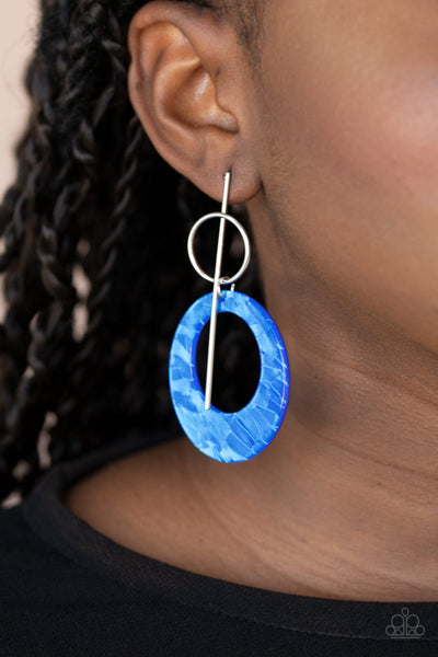 Stellar Stylist - Blue Acrylic Earrings - Paparazzi Accessories
