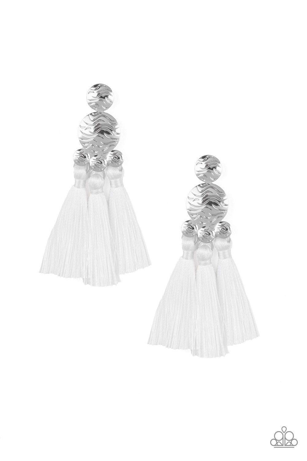 Taj Mahal Tourist - White Tassel Earrings - Paparazzi Accessories