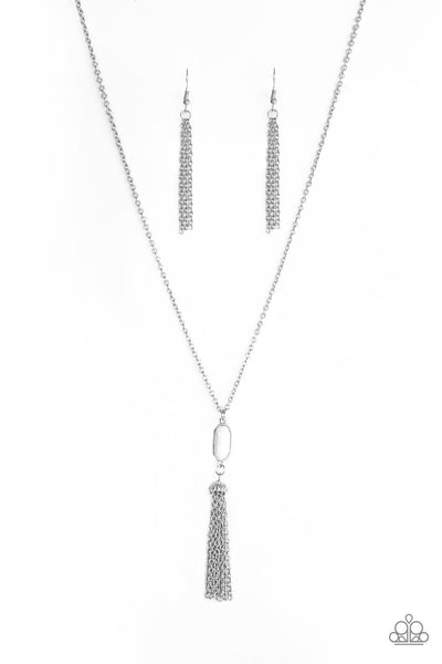 Tassel Tease - White Long Necklace - Paparazzi Accessories