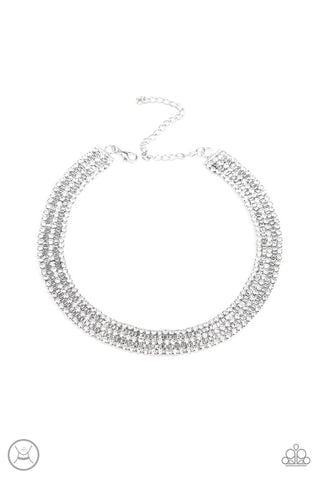 Paparazzi Full REIGN Choker Necklace- White