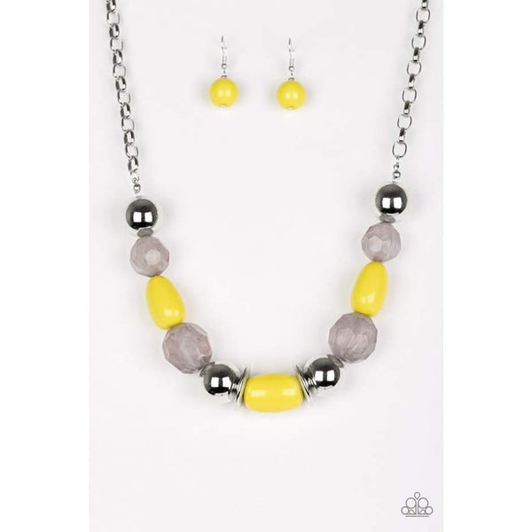 South Shore Sensation - Yellow Beaded Necklace - Paparazzi Accessories