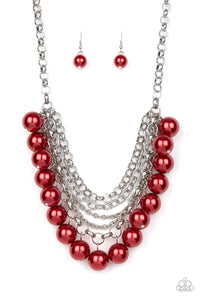 Paparazzi One-Way WALL STREET Pearl Fringe Necklace - Red