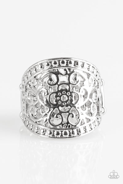 Floral Finale - Silver Ring - Paparazzi Accessories