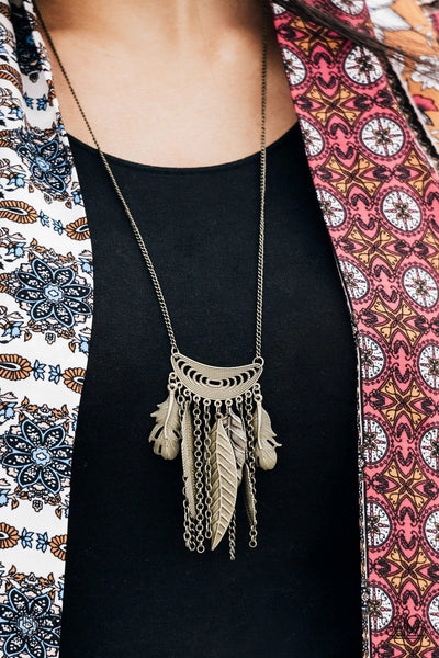 Fiercely Feathered - Brass Necklace - Paparazzi Accessories