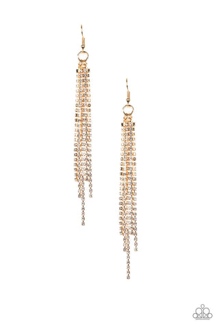 Center Stage Status - Gold White Rhinestone Earrings - Paparazzi Accessories