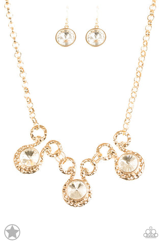 Hypnotized - Gold Rhinestone Necklace - Paparazzi Accessories