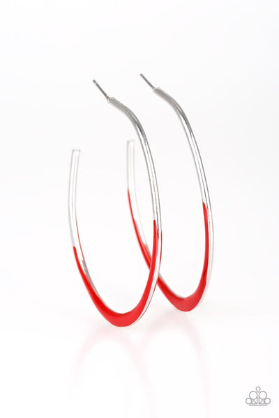 So Seren-DIP-itous - Red/Silver Hoop Earrings - Paparazzi Accessories