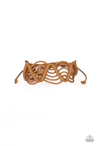 Rise To The Bait - Light Brown Corded Bracelet - Paparazzi Accessories