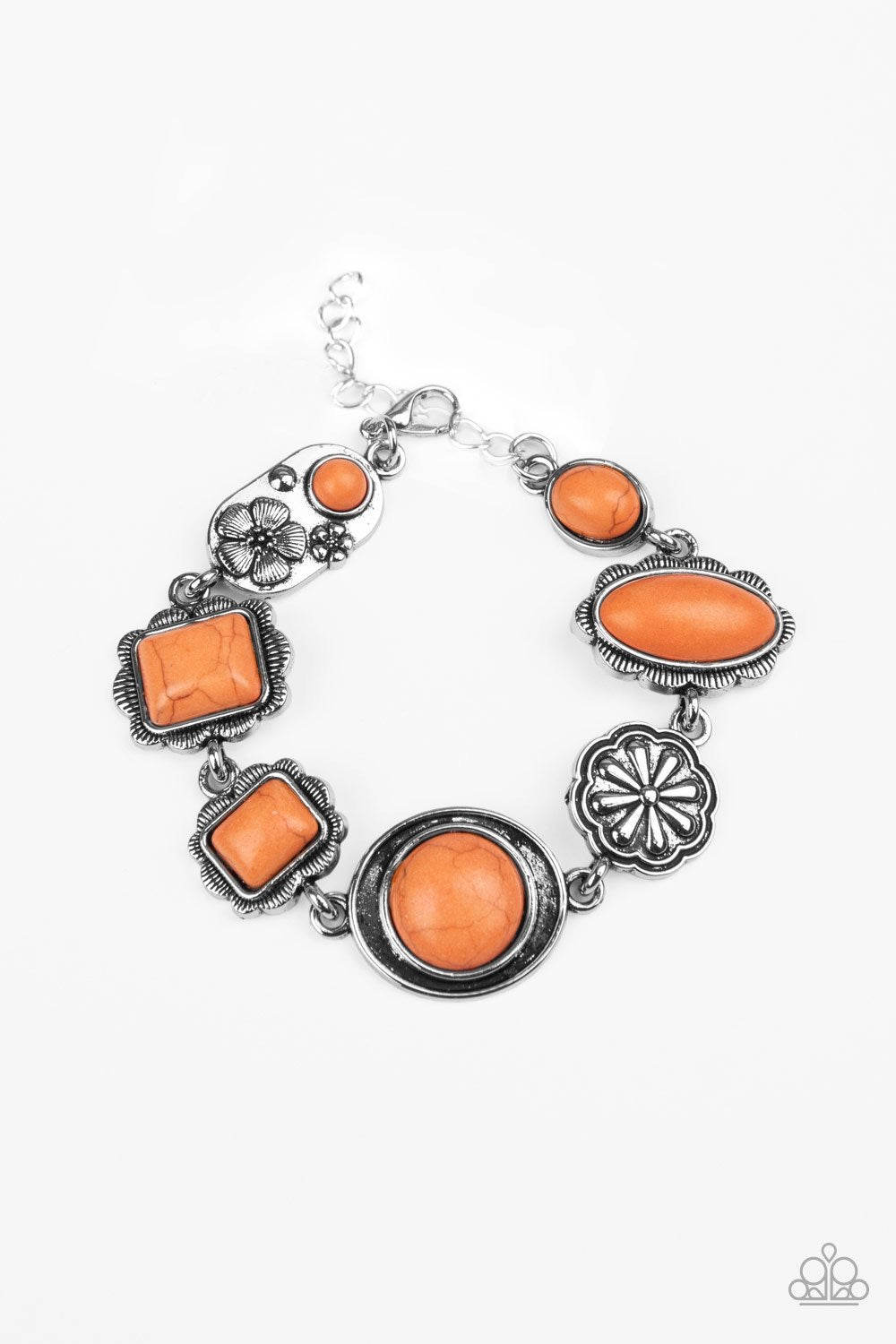 Gorgeously Groundskeeper - Orange Stone Bracelet - Paparazzi Accessories
