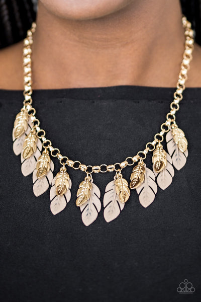 Rule The Roost - Gold/Brown Feather Fringe Necklace - Paparazzi Accessories
