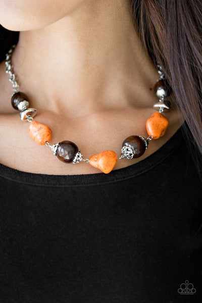 Earth Goddess - Orange Wooden Stone Necklace - Paparazzi Accessories