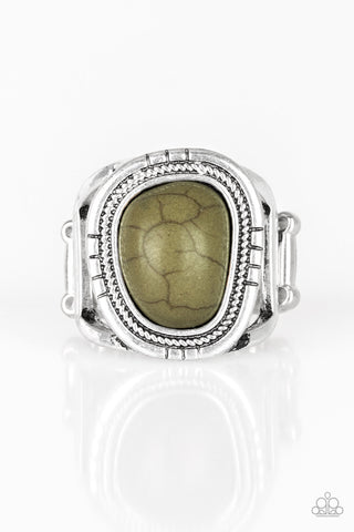Out On The Range - Green Stone Ring - Paparazzi Accessories