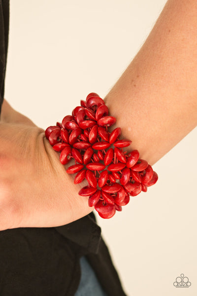 Hawaii Haven - Red Wooden Bracelet - Paparazzi Accessories