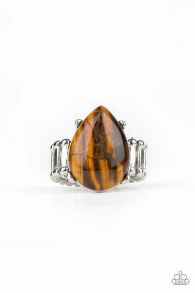 Paparazzi Mojave Minerals Tiger Eye Ring - Brown