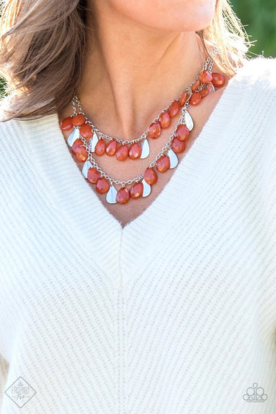 Life of the FIESTA - Orange Fringe Necklace - Paparazzi Accessories