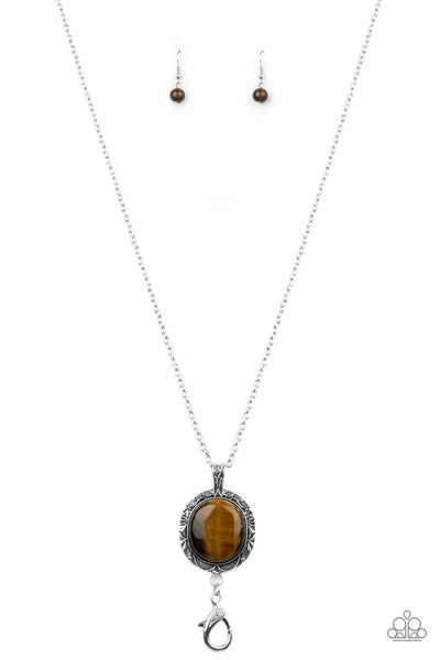 Stone Aura - Brown Tiger's Eye Necklace - Paparazzi Accessories