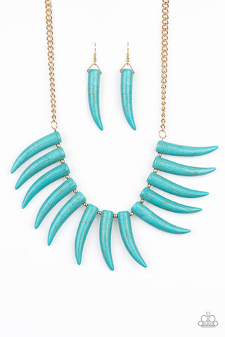 Tusk Tundra - Blue Stone Necklace - Paparazzi Accessories