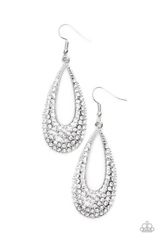 Paparazzi Big Time Spender Earring-White