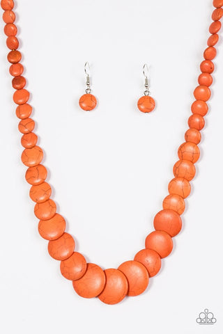 Paparazzi Desert Flats Necklace-Orange