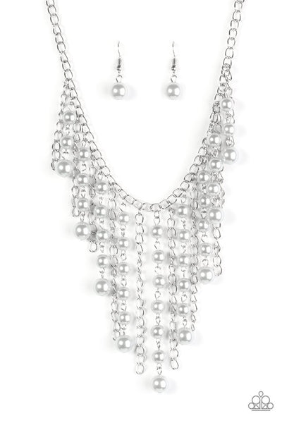 STUN Control -Silver Beaded Fringe Necklace - Paparazzi Accessories