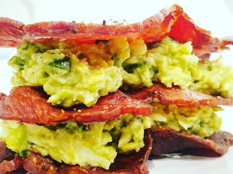 Keto breakfast no eggs - bacon sanga
